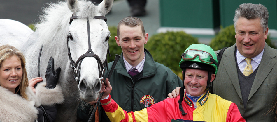 Winning Trainer, Paul Nicholls and Jockey, Mick Kinane of the John Smith's Aintree Legends Race 2013