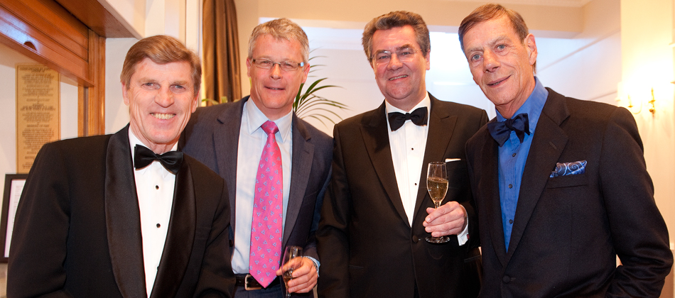 Brough Scott, Mike Cattermole, Mike Dillon with Sir Henry Cecil during 'An Evening with Sir Henry Cecil', May 3rd 2012