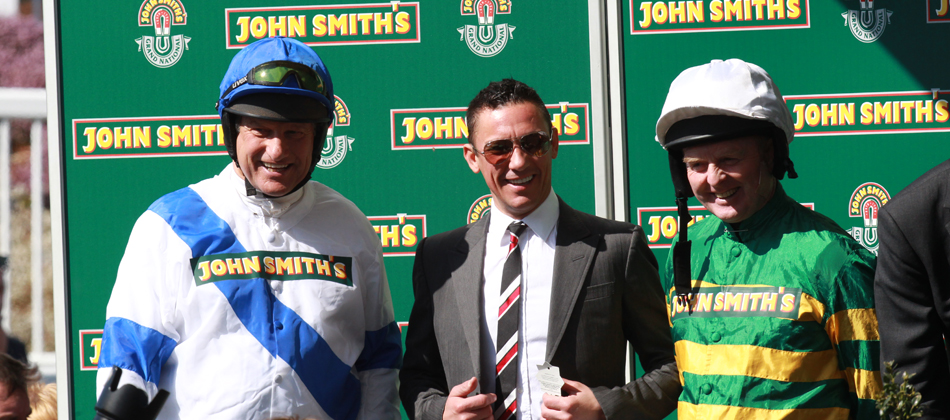 Bob Champion, Frankie Dettori and Jonjo O'Neill at Aintree 2013