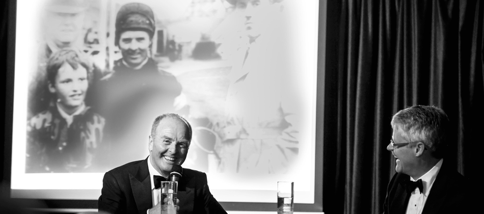 Jonjo O'Neill being interviewed by Mike Cattermole during 'An Evening with Jonjo O'Neill', September 2013