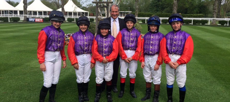 Shetland Pony Grand National jockeys with Bob Champion